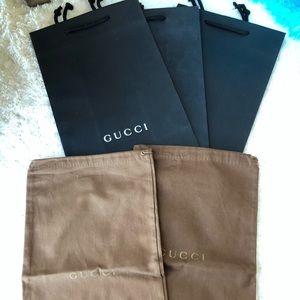 GUCCI Dust bag 2&Gucci paper Bag 3